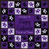 Witch mosaic retro Halloween card — Stock Vector