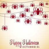 Spider Halloween string card — Stock Vector