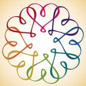 Onderling met elkaar verbonden hart cirkel in vector-formaat. — Stockvector