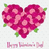 Corazón hecho de rosas en formato vectorial. — Vector de stock