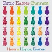 Bright retro Happy Easter Bunny set in vector format. — Stock Vector