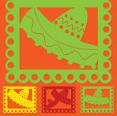 Mexican 'papel picado' (Paper flag decoration) set in vector for — Stock Vector
