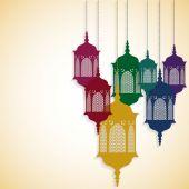 Hanging lanterns card — Stock Vector