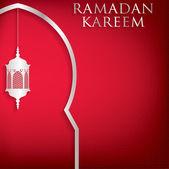 Lantern and moon with Eid Mubarak sign — Stock Vector