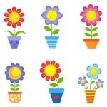 Flowers in pots — Stock Vector #76702291