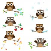Owls on branches — Stock Vector