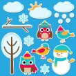 Different winter elements — Stock Vector #77928856