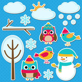 Different winter elements — Stock Vector