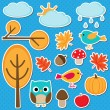 Different autumn elements — Stock Vector #77982646