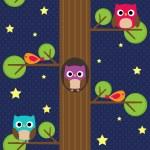 Owls at night — Stock Vector #77982648