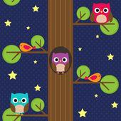 Owls at night — Stock Vector