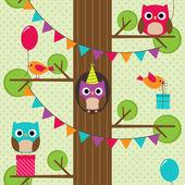 Vector birthday owls pattern — Stock Vector