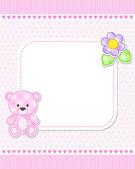 Pink teddy bear card — Stock Vector