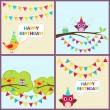 Vector birthday cards with birds — Stock Vector #80769768