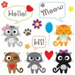 Stylized set of cute cartoon kittens — Stock Vector #83237820