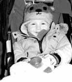 Baby in pushchair — Stock Photo