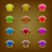 Icons with golden laurel wreaths — Stock Vector