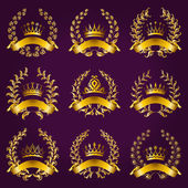Luxury gold labels with laurel wreath — Stock Vector