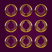 Shields with laurel wreath — Vector de stock