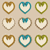 Set of frames in the shape of heart — Stock Vector
