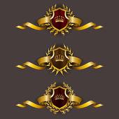 Golden shields with laurel wreath — Stock Vector