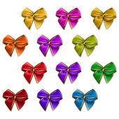 Set of elegant silk colored bows — Stock Vector