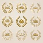 Set of Vector gold laurel wreaths. — Stock Vector #65821187
