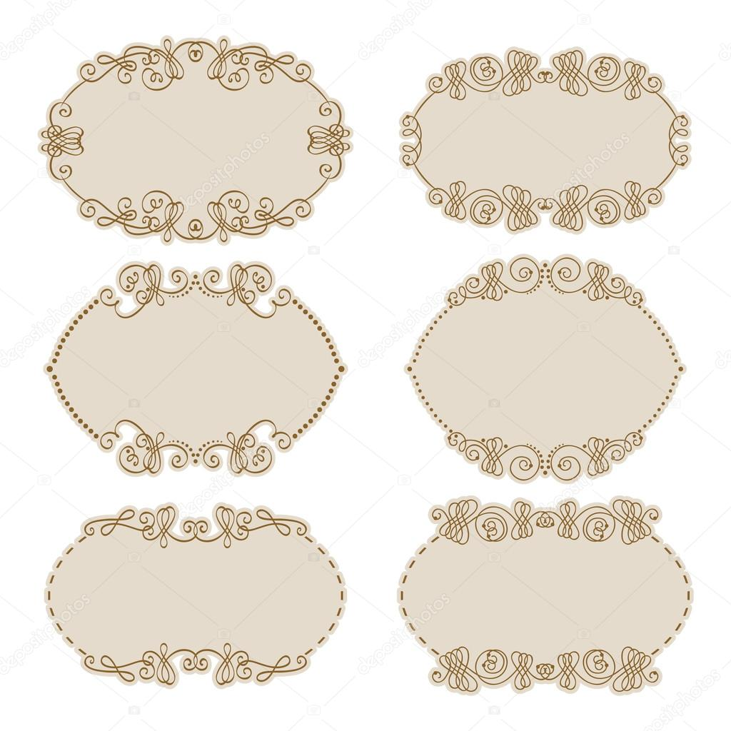 Vector conjunto de oro bordes decorativos marco archivo for Conjunto de espejos decorativos
