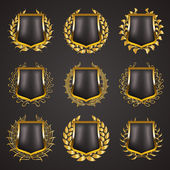 Golden shields with laurel wreath — Stock Vector
