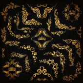 Векторный набор золотых декоративных границ, рама — Cтоковый вектор
