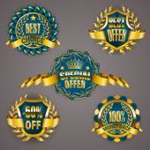 Golden badges with laurel wreath — Stock Vector