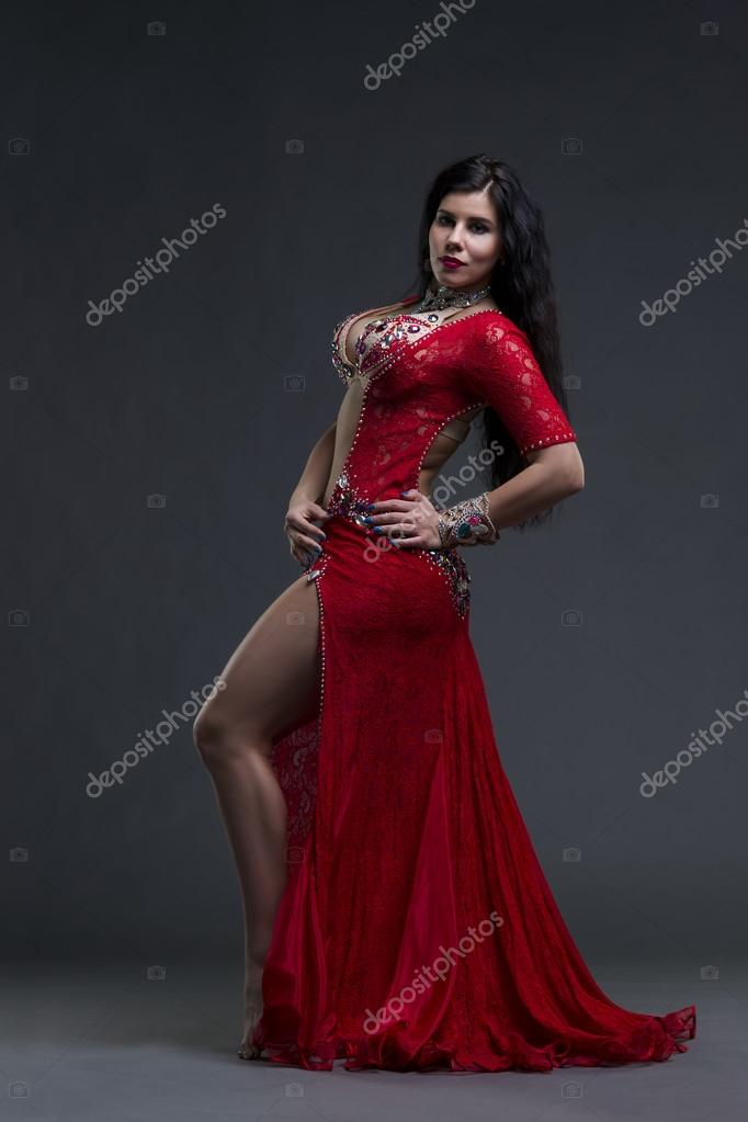 A line red dress young