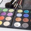 Eyeshadow palette and brush for professional makeup — Stock Photo #55595857