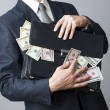Businessman with a briefcase full of money in the hands of — Stock Photo #58482313