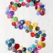 Letter S of the alphabet of buttons of various shapes and colors — Stock Photo #58482681