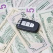 Car key on a background of dollars — Stock Photo #62222853