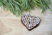 Gingerbread cookies with icing heart shaped — ストック写真