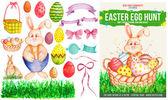 Watercolor Easter Poster & Design Elements — Stock Vector