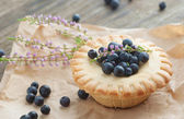 Cake basket with blueberries,selective focus — Stock Photo