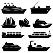 Ships, boats, cargo, logistics and shipping icons — Stock Vector