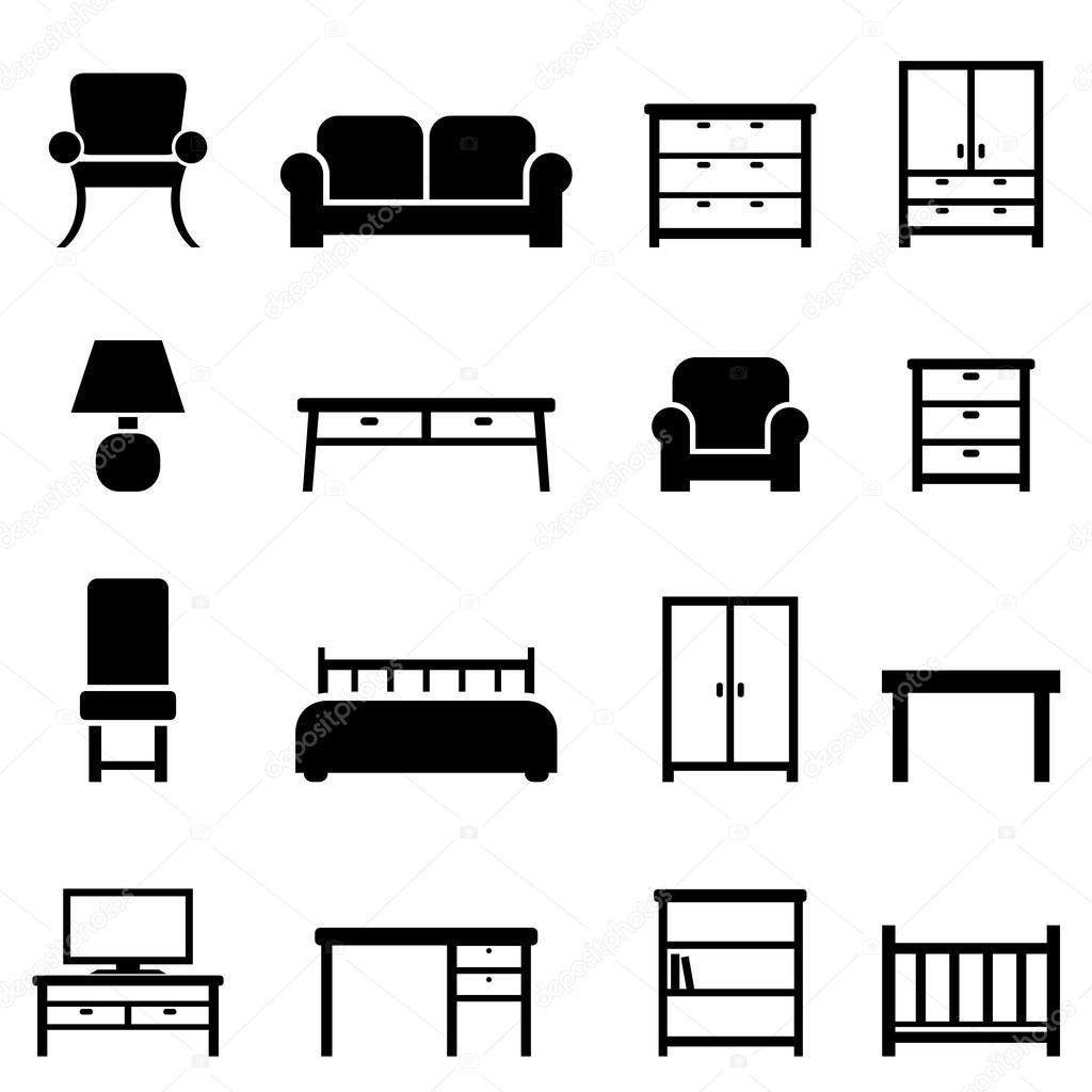 Icone domestiche di arredamento e mobili vettoriali for Icona arredamenti