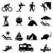 Outdoor leisure and recreation icons — Stock Vector