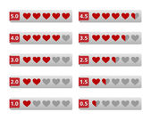 Rating heart buttons — Stock Vector