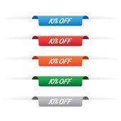 10 percent off paper tag labels — Stock Vector