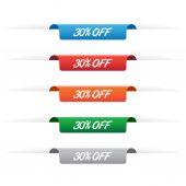 30 percent off paper tag labels — Vecteur