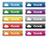 Cloud metallic rectangular buttons — Stock Vector