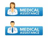Medical assistance request buttons — Stock Vector