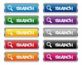 Search metallic rectangular buttons — Stock Vector