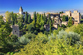 Alhambra Castle Towers Cityscape Church Granada Andalusia Spain — Stock Photo