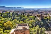 Alhambra Castle Tower Cityscape Churchs Granada Andalusia Spain — Stock Photo